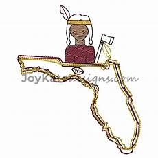 Florida State Seminole Designs State Of Florida With Seminole And Football Embroidery
