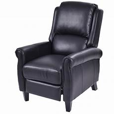 leather accent chairs for living room costway leather recliner accent chair push back living