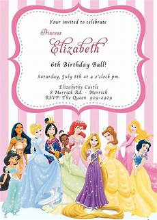 Princess Disney Invitations Custom Photo Invitations Disney Princess Birthday