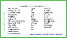 Transitions In An Essay What Are The Essay Transitions Between Paragraphs Essay