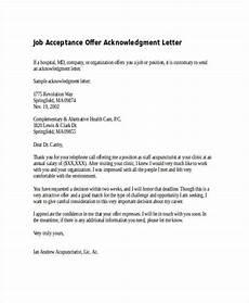 Acknowledgement Letter Example Job Acceptance Acknowledgement Letter
