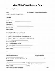 Child Travel Consent Form Samples 17 Authorization Letter For A Child To Travel Examples