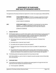 Auto Purchase And Sale Agreement Agreement Of Purchase And Sale Of Business Assets Template