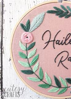 floral name embroidery hoop pattern cutesy crafts