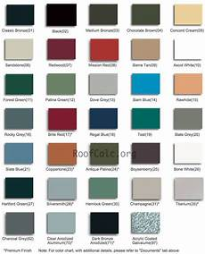 Tin Roofing Color Chart Standing Seam Metal Roof Colors Metal Roof Colors Metal