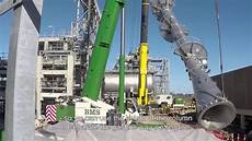 Distillation Tower 49 Tonnes Heavy Distillation Tower Lifted Into Place Youtube
