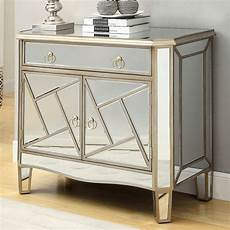 mirrored accent cabinet w geometric shapes by coaster