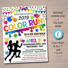 Flyer Color Editable Color Run Flyer Poster Printable Invitation