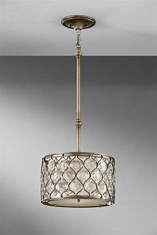 Linen Shade Pendant Light Feiss One Light Linen Fabric Shade Burnished Silver Drum