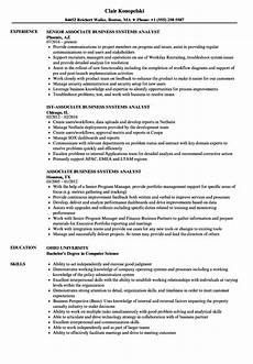 Business System Analyst Resume Associate Business Systems Analyst Resume Samples Velvet