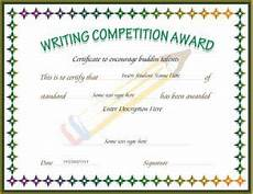 Certificate For Competition Writing Competition Award Certificate Template For Ms Word