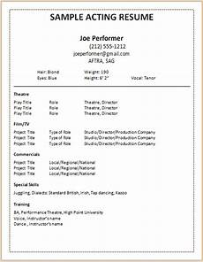 Child Actor Resume Format Acting Resume Templates 2015 Http Www Jobresume