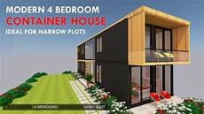 4 bedroom shipping container house prefab for a narrow