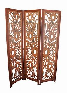 details about 3 panel wood screen room divider walnut