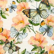 Mariposas Y Flores Servilleta 33x33cm Mariposas Con Flores Colores 20un