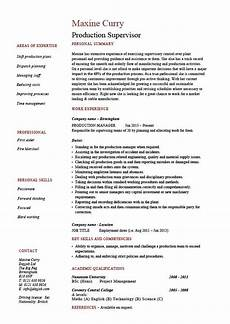 Production Supervisor Resume Samples Production Supervisor Resume Sample Example Template