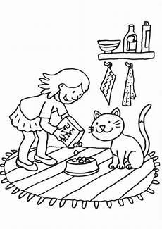 kostenlose malvorlage katzen katze wird gef 252 ttert zum