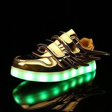 Kids Gold Light Up Shoes Fashion Kids Light Up Shoes With Wings For Boys Girls