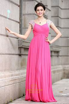 pink prom dresses with cap sleeves pink dresses