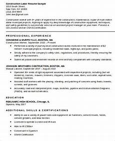 Construction Worker Resume Templates Free 9 Sample Construction Worker Resume Templates In Ms