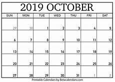 October Calendar Blank October 2019 Calendar Printable Beta Calendars