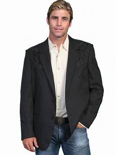 sporty coats scully 174 mens black floral embroidered western sport coat