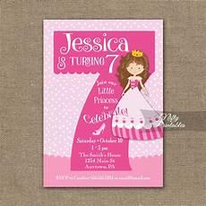 7th Birthday Invitation Card Printable 7th Birthday Invitation Pink Princess Invitation Nifty