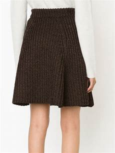 stricken rock lyst proenza schouler cable knit a line skirt in brown