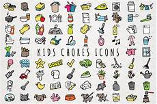 Chore Chart Pictures Fun Hand Drawn Kids Chores Icons Set Icons Creative Market