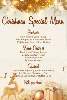 Free Blank Christmas Menu Templates Christmas Menu Template Postermywall