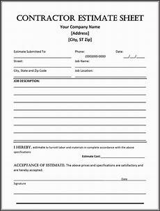 How To Estimate A Construction Job Contractor Estimate Template Free Download Awesome