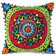 black embroidered colorful decorative sofa throw bohemian