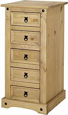 chest of drawers 5 drawer narrow cabinet solid pine sol
