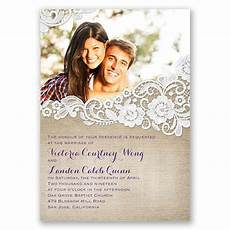 Wedding Invitation Card With Photo Burlap And Lace Frame Invitation With Free Response