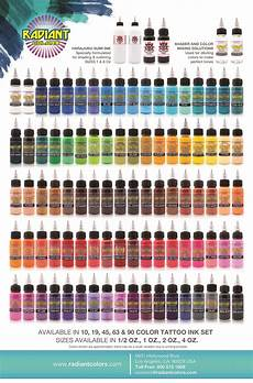 Eternal Ink Colour Chart Color Chart Radiant Inks Color Ink Chart