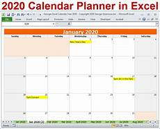 Calendar Excel Template 2020 2020 Calendar Year In Excel Spreadsheet Printable