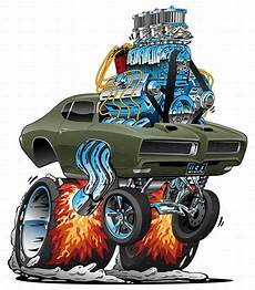 classic american muscle car hot rod cartoon vector