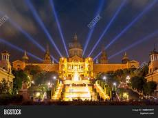 Barcelona Night Light Show Light Show And Fountains Placa Espanya Barcelona Stock