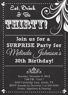 Free Printable Birthday Invitations For Adults Chalkboard Look Birthday Party Invitation