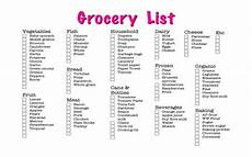 Normal Grocery List Standard Grocery List Write Craftweb Free Business
