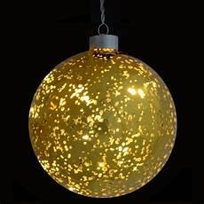 Warm White Hanging Christmas Lights 13cm Light Up Gold Plated Hanging Glass Ball Christmas