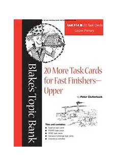 Blake S Topic Bank 20 More Task Cards For Fast