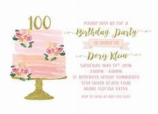100th Birthday Invitation 100th Birthday Invitation Cake Birthday Invitation