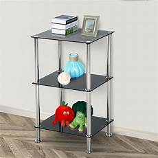 Vasagle Hallway Side Table Bedside Unit With 2 Mesh by 3 Tier Shelf Glass Side End Table Hallway Ladder Storage