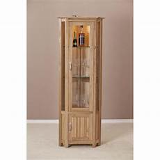 clifton solid oak furniture glass corner display cabinet