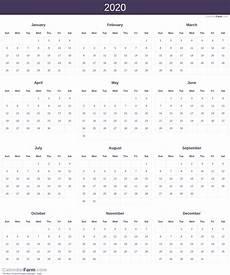 2020 Printable Year Calendar 2020 Calendar
