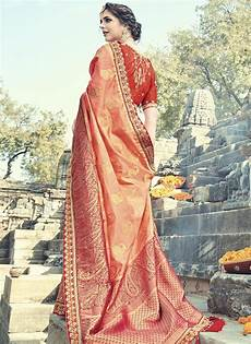 buy peach and red silk wedding wear saree in uk usa and
