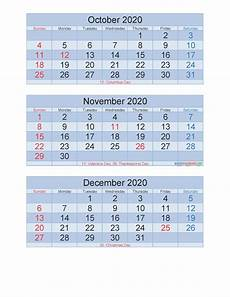 2020 Three Month Calendar Free Printable 3 Month Calendar 2020 Oct Nov Dec Pdf