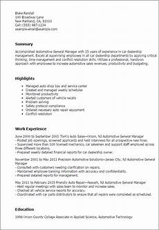 Auto Dealership Sales Manager Resume 1 Automotive General Manager Resume Templates Try Them