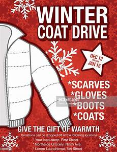 Free Clothes Sample Winter Coat Drive Charity Poster Template High Res Vector